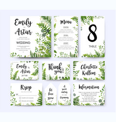 Greenery wedding invite menu thank you card set vector