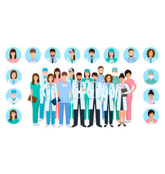 Group doctors and nurses characters in vector