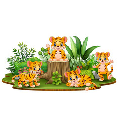 Happy baby tiger group with green plants vector