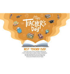 Happy teacher day with opened book and school vector