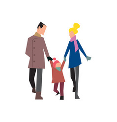 Happy young family on walk vector