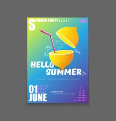 Hello summer beach party vertical a4 poster vector