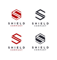 hexagon letter s for shield logo icon template vector image