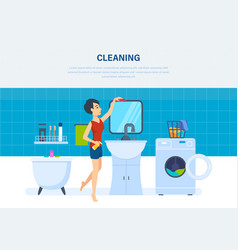 Housewife in bathroom is engaged in cleaning vector