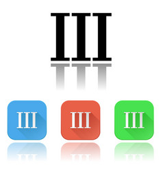 Iii roman numeral icons colored set with vector