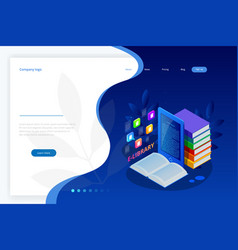 Isometric web banner e-learning online library vector