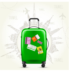 Journey round-the-world - suitcase and sights vector