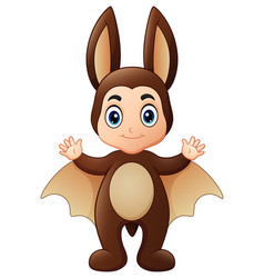 Little girl in bat costume for halloween vector
