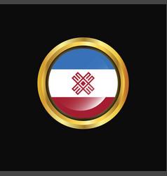Mari-el flag golden button vector