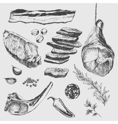 Meat steak sketch drawing designer template vector