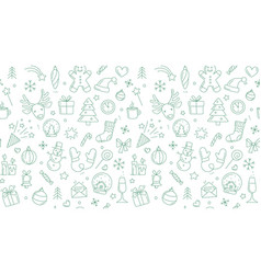 merry christmas happy new year seamless background vector image