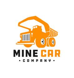 mine truck car logo vector image