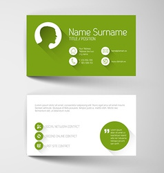 Modern green business card template with flat user vector image