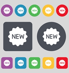 New Icon sign A set of 12 colored buttons Flat vector image