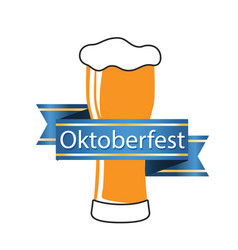 oktoberfest blue ribbon beer mug image vector image