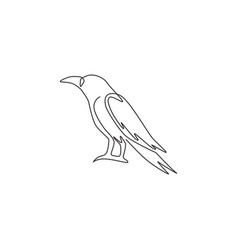 one continuous line drawing black raven vector image