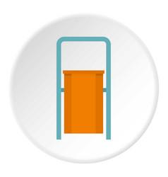 Orange public garbage bin icon circle vector