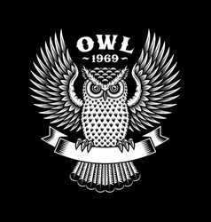 Owl emblem on black vector