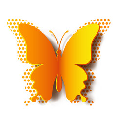 paper butterfly with shadow and polka dot vector image