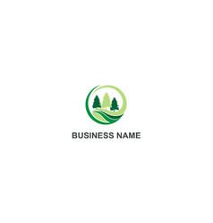 Pine tree green landscape company logo vector