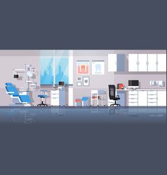 professional dentist workplace chair and tools vector image