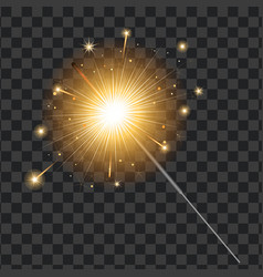 Realistic sparkler transparent background vector