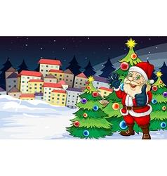 santa claus standing beside christmas trees vector image