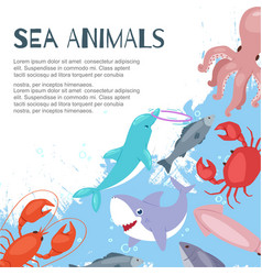 sea animals banner inscription background vector image