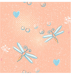 seamless pattern of cute dragonfly and dandelion vector image