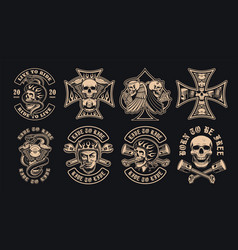 set black and white biker emblems on a dark vector image