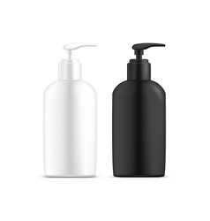 Set isolated dispenser bottles with liquid soap vector