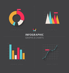 set of flat design infographic charts and graphs vector image