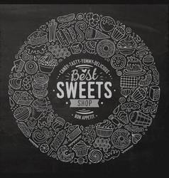 set of sweet food cartoon doodle objects symbols vector image