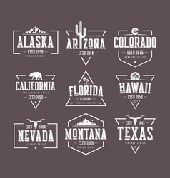 Set of us states vintage t-shirt and vector