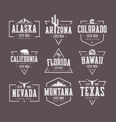 Set of us states vintage t-shirt vector
