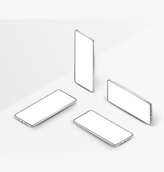 set white realistic isometric smartphones 3d vector image