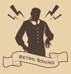 Silhouette of dj retro style with headphones and vector