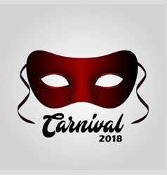 Simple red carnival mask with black typography on vector