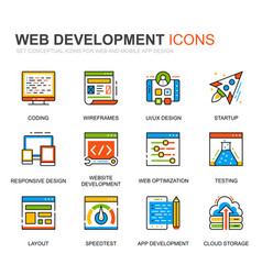 simple set web disign line icons for website vector image