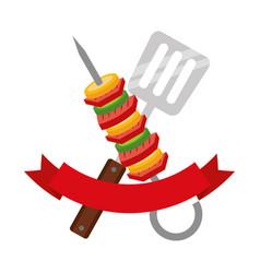skewer and spatula barbecue ribbon vector image