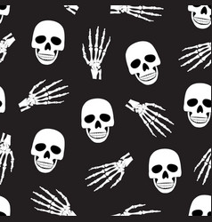 skull and skeleton hand seamless pattern on black vector image
