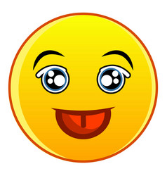 smiling yellow emoticon icon cartoon style vector image