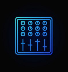 sound mixer blue outline icon on dark vector image