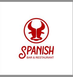spanish bar tapas food logo template vector image