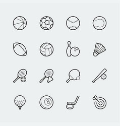 sports icon set in thin line style vector image