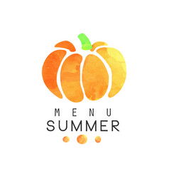 Summer menu logo badge for vegetarian restaurant vector