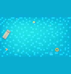 Swimming pool top view swimming ring beach balls vector