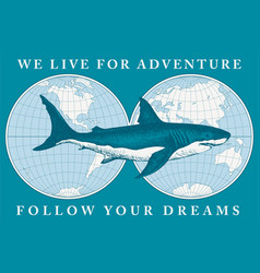 Travel banner with shark and world map vector