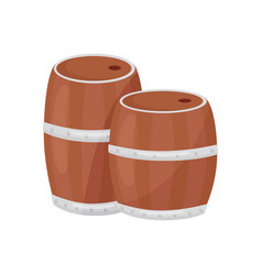 two wooden barrels for farming and wine-making vector image