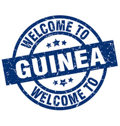 Welcome to guinea blue stamp vector
